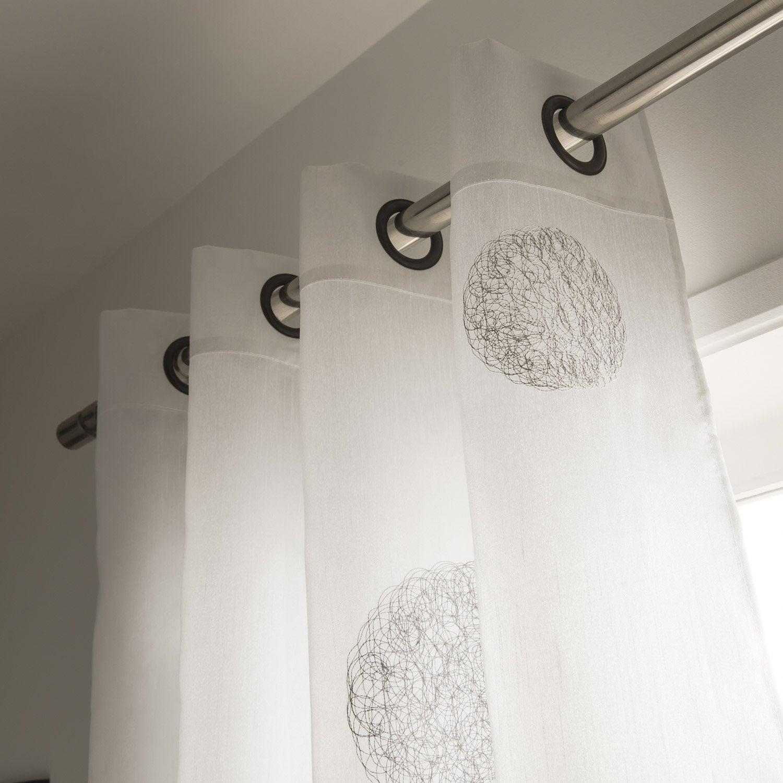 Rideau 5 mondes blanc et gris 140 x 260 cm leroy merlin - Oeillets pour rideaux leroy merlin ...