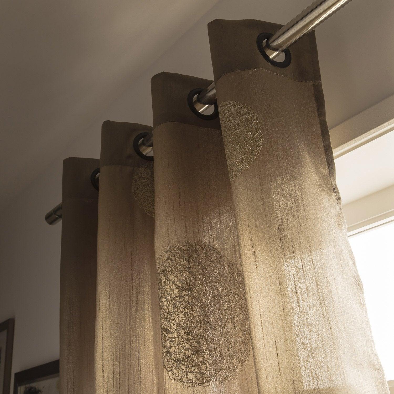 rideau 5 mondes taupe et beige x cm leroy merlin. Black Bedroom Furniture Sets. Home Design Ideas