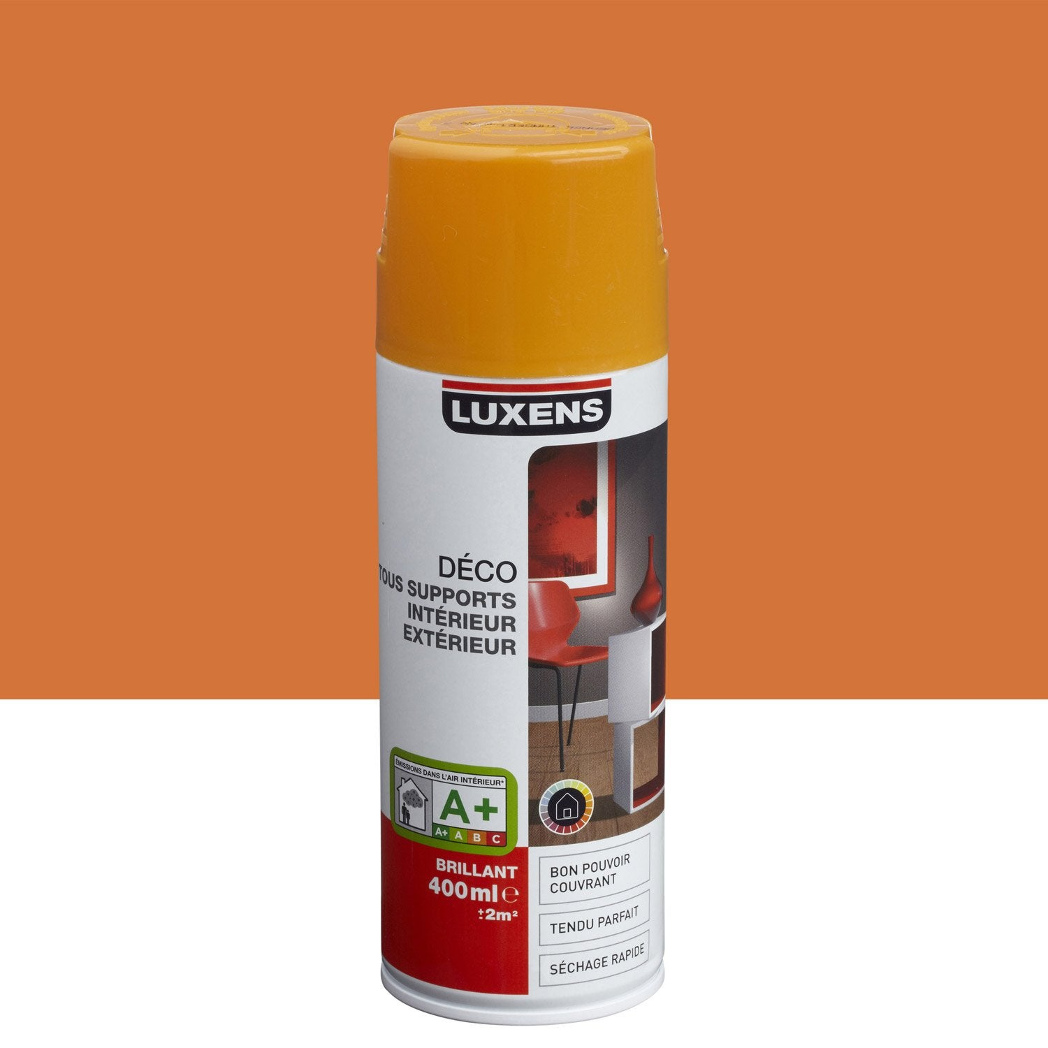 Peinture a rosol brillant luxens orange tangerine n 3 0 for Peinture bio leroy merlin