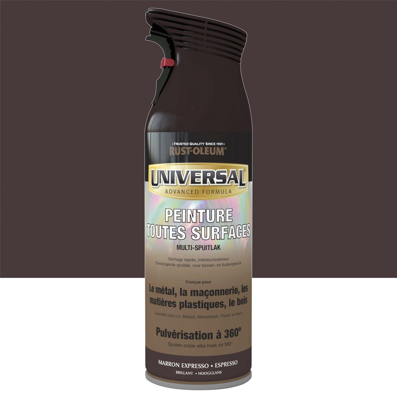 Peinture a rosol universal brillant marron espresso 0 4 for Peinture piscine leroy merlin