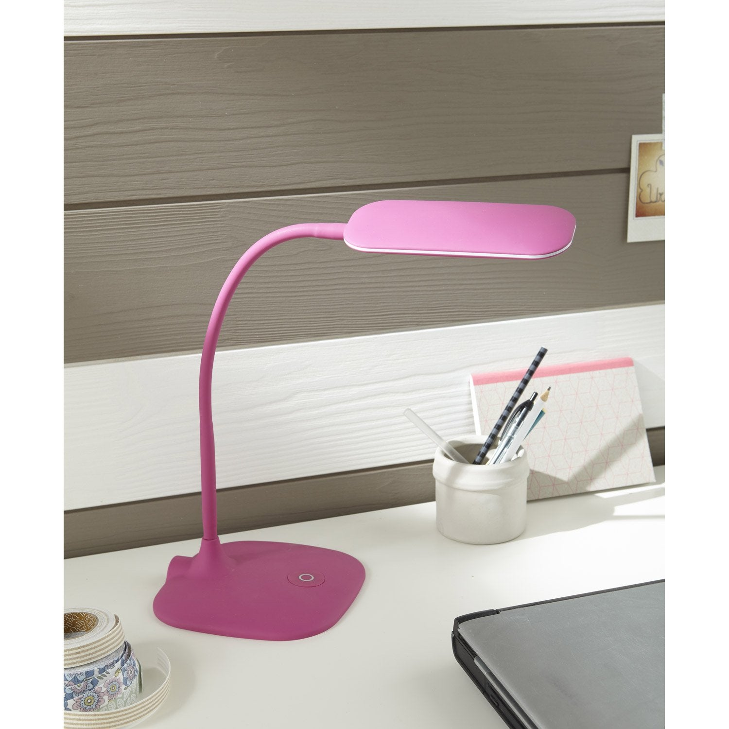 lampe de bureau poser rose led mei inspire leroy merlin. Black Bedroom Furniture Sets. Home Design Ideas