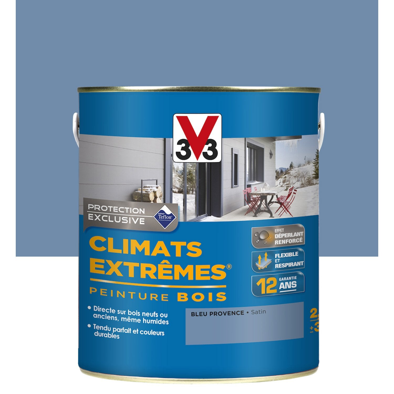 Peinture bois ext rieur climats extr mes v33 bleu - Peinture v33 leroy merlin ...