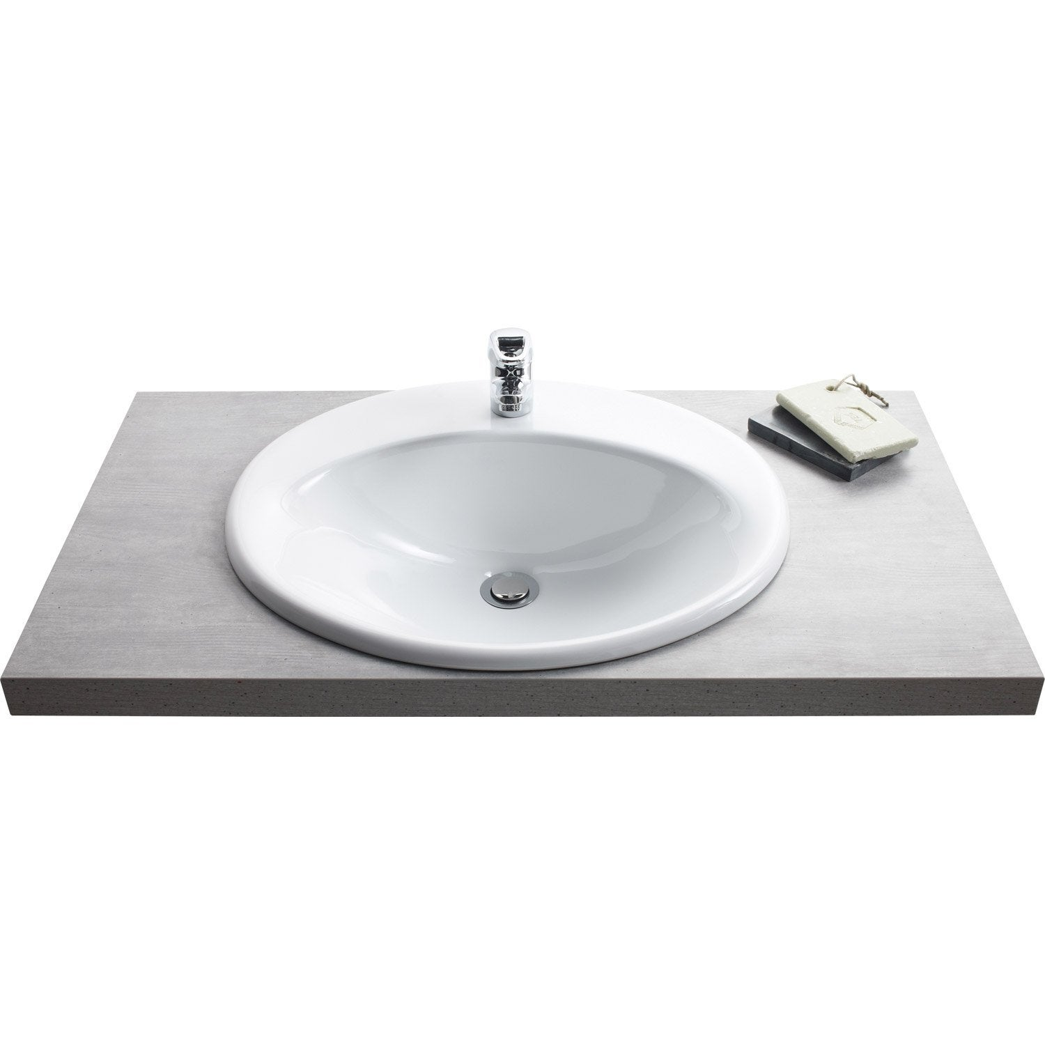 Vasque encastrer c ramique x cm blanc olympe for Vasque salle de bain leroy merlin