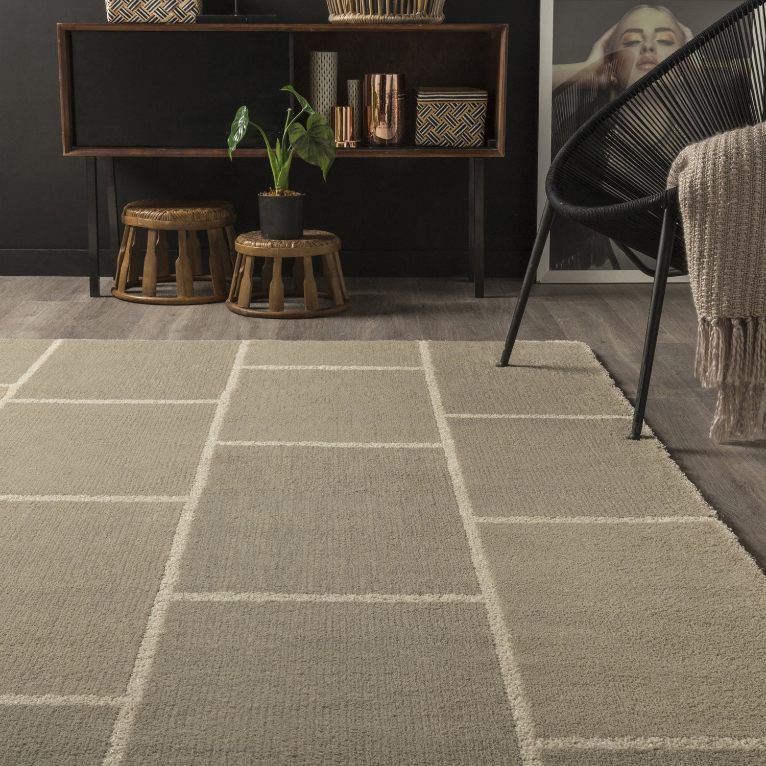 Tapis Taupe Cosy Design X Cm Leroy Merlin