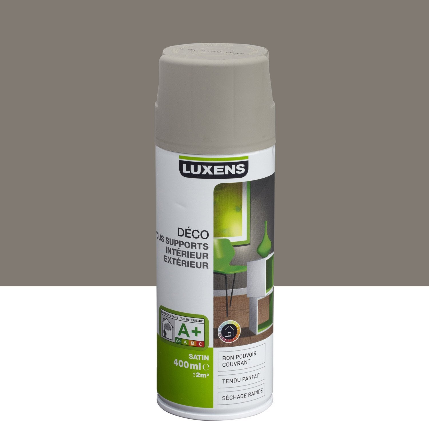 Peinture a rosol satin luxens brun taupe n 3 0 4 l leroy merlin for Peinture brun taupe