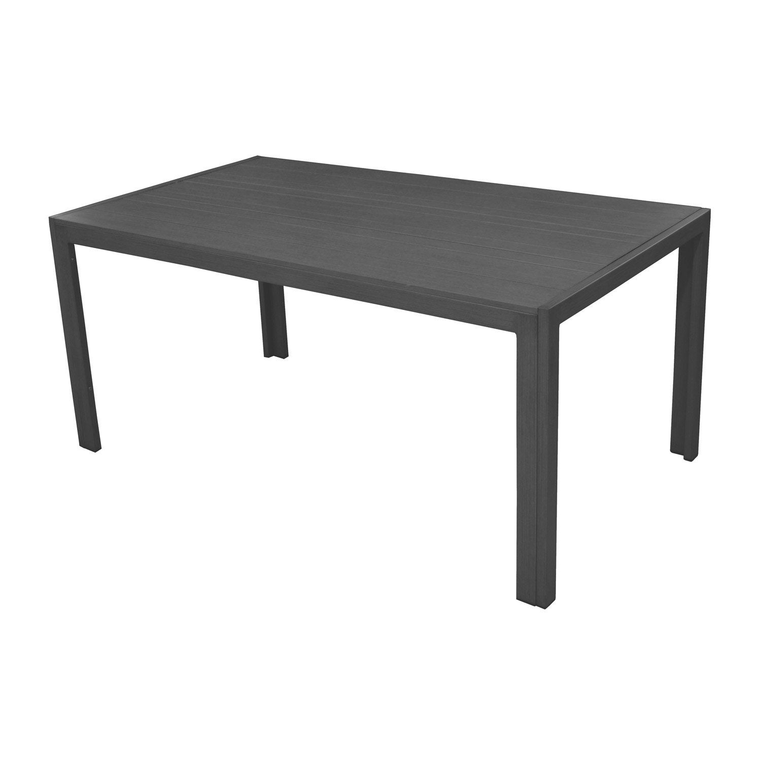table de jardin mt rectangulaire gris 6 personnes leroy merlin. Black Bedroom Furniture Sets. Home Design Ideas