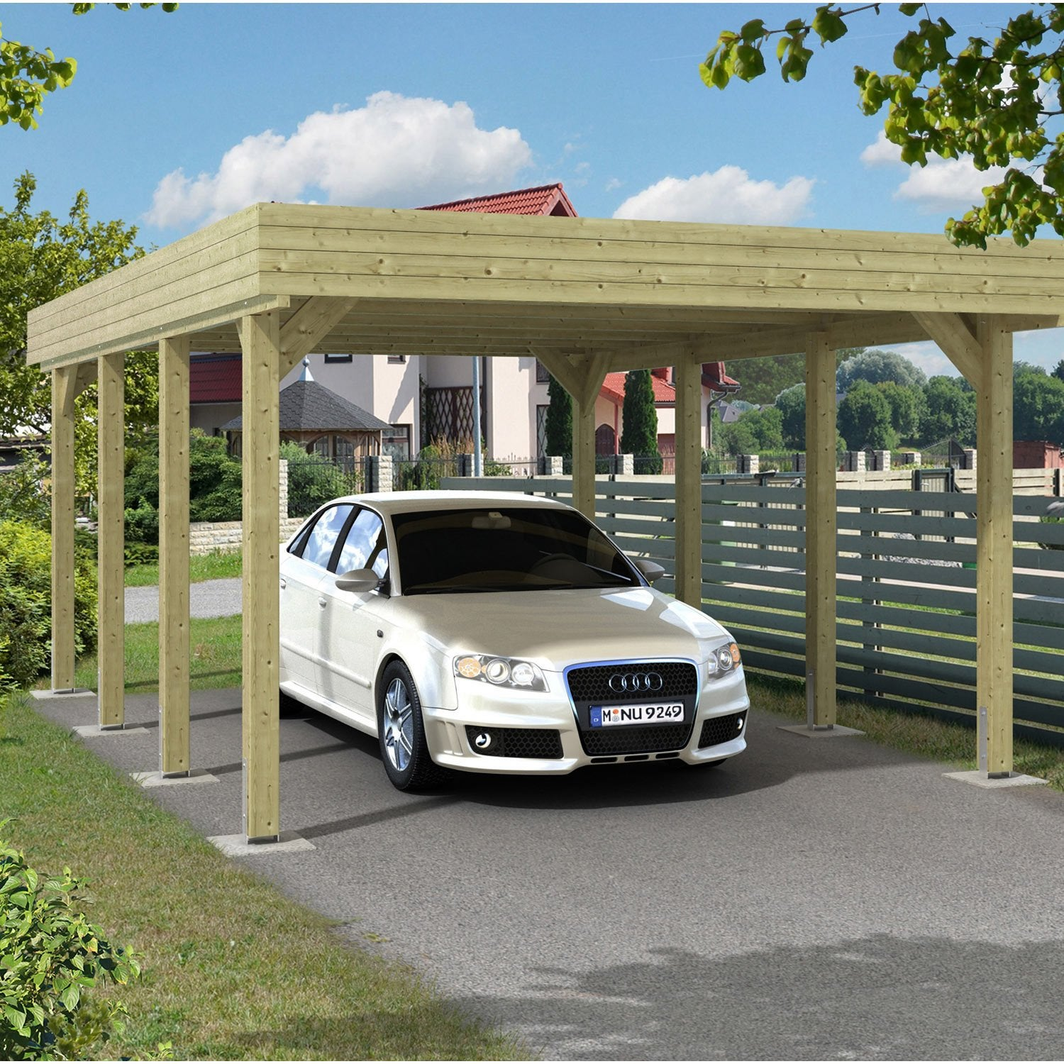 Carport bois jaarma 1 voiture 18 5 m leroy merlin for Carport 1