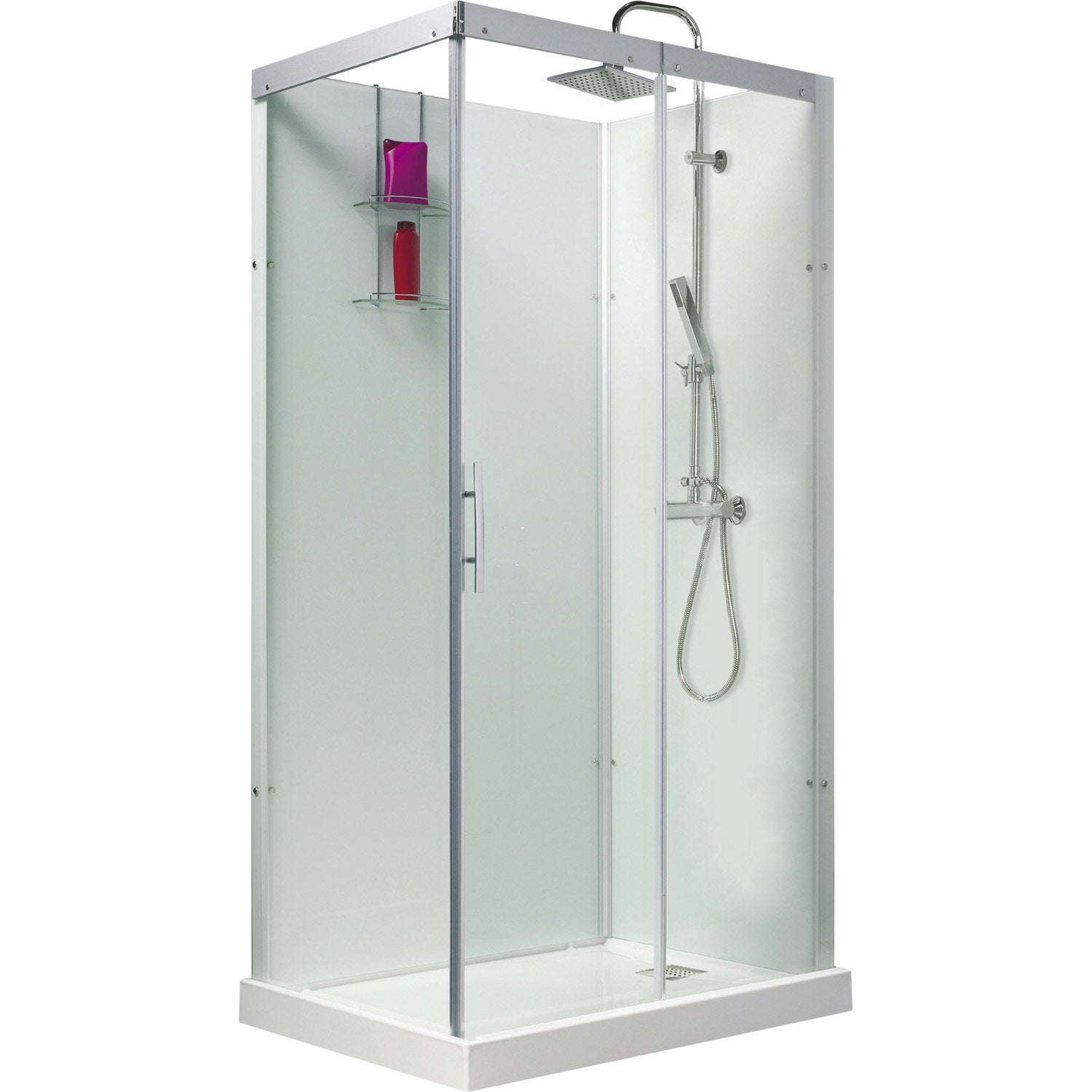 Cabine de douche rectangulaire 110x80 cm thalaglass 2 for Douche chez leroy merlin