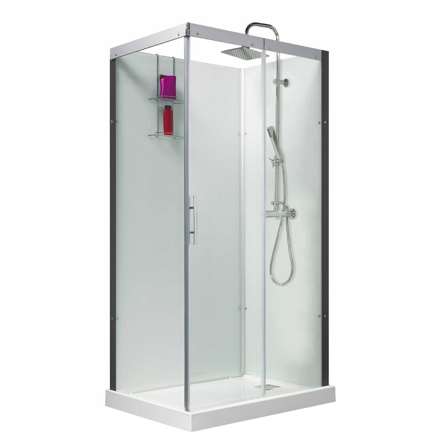 Cabine de douche rectangulaire 110x80 cm thalaglass 2 thermo leroy merlin - Destockage cabine de douche ...