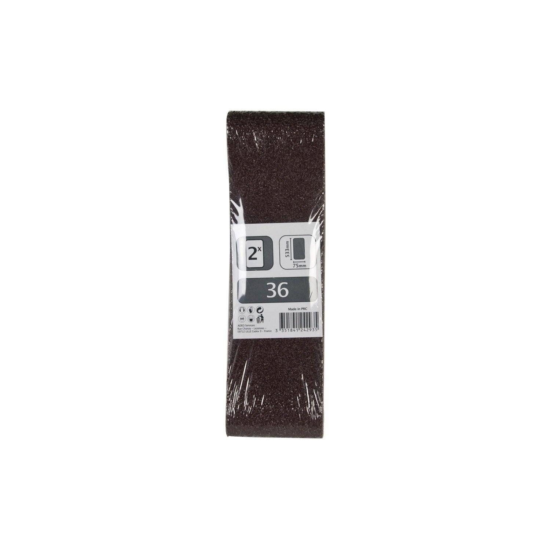 2 bandes abrasives pour ponceuse bande 75x533 mm grains 36 leroy merlin. Black Bedroom Furniture Sets. Home Design Ideas