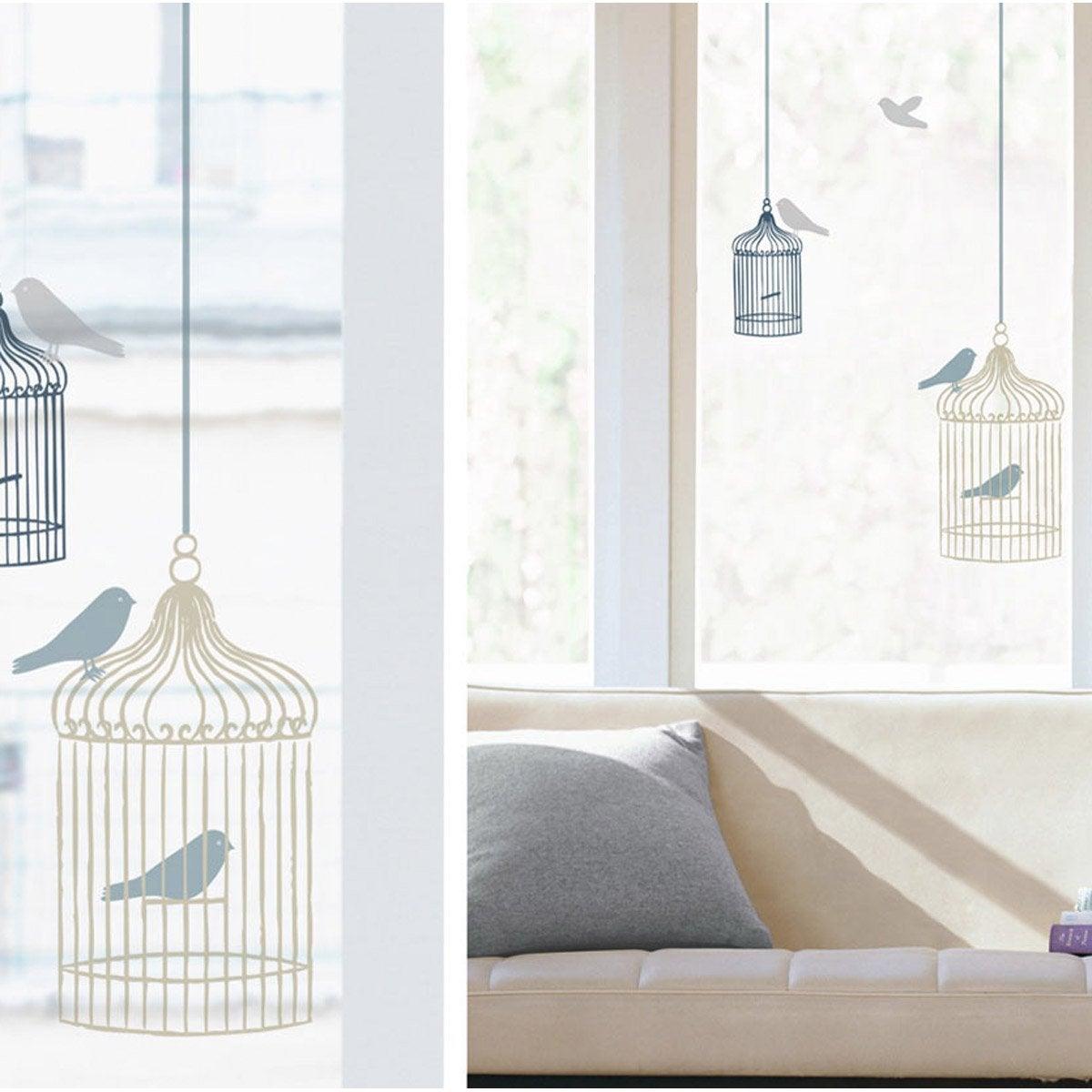 sticker cages oiseaux 24 cm x 69 cm leroy merlin. Black Bedroom Furniture Sets. Home Design Ideas