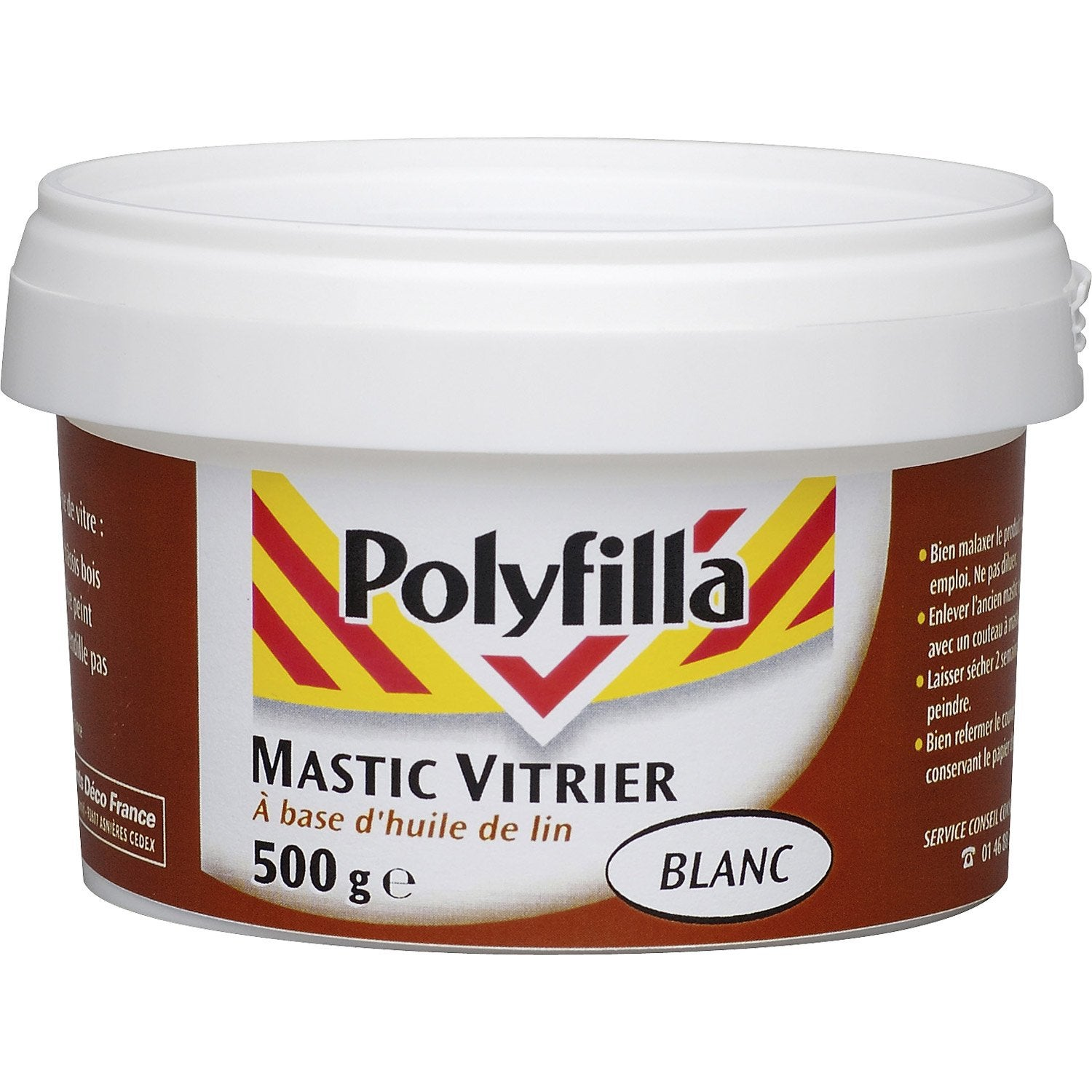 mastic d 39 tanch it polyfilla vitrier 500 g blanc leroy. Black Bedroom Furniture Sets. Home Design Ideas