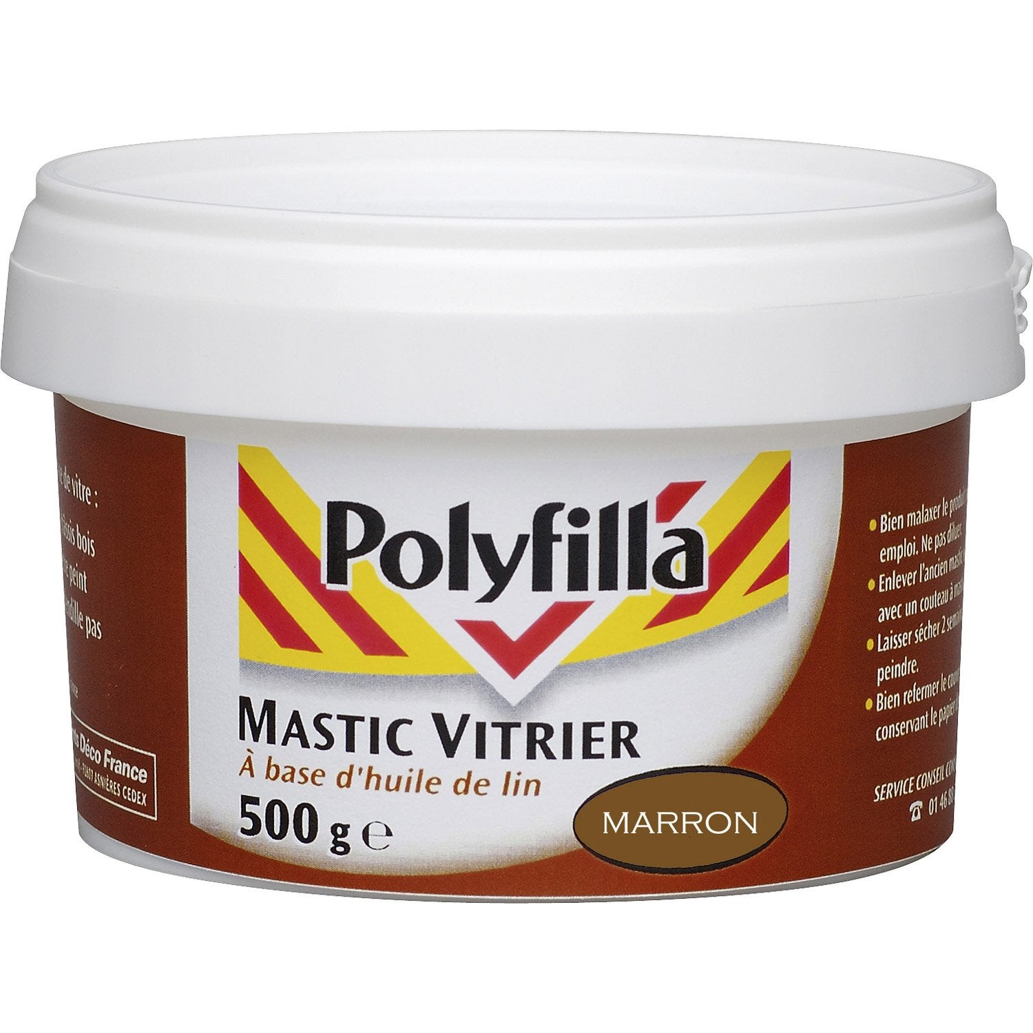 mastic d 39 tanch it polyfilla vitrier 500 g marron leroy. Black Bedroom Furniture Sets. Home Design Ideas