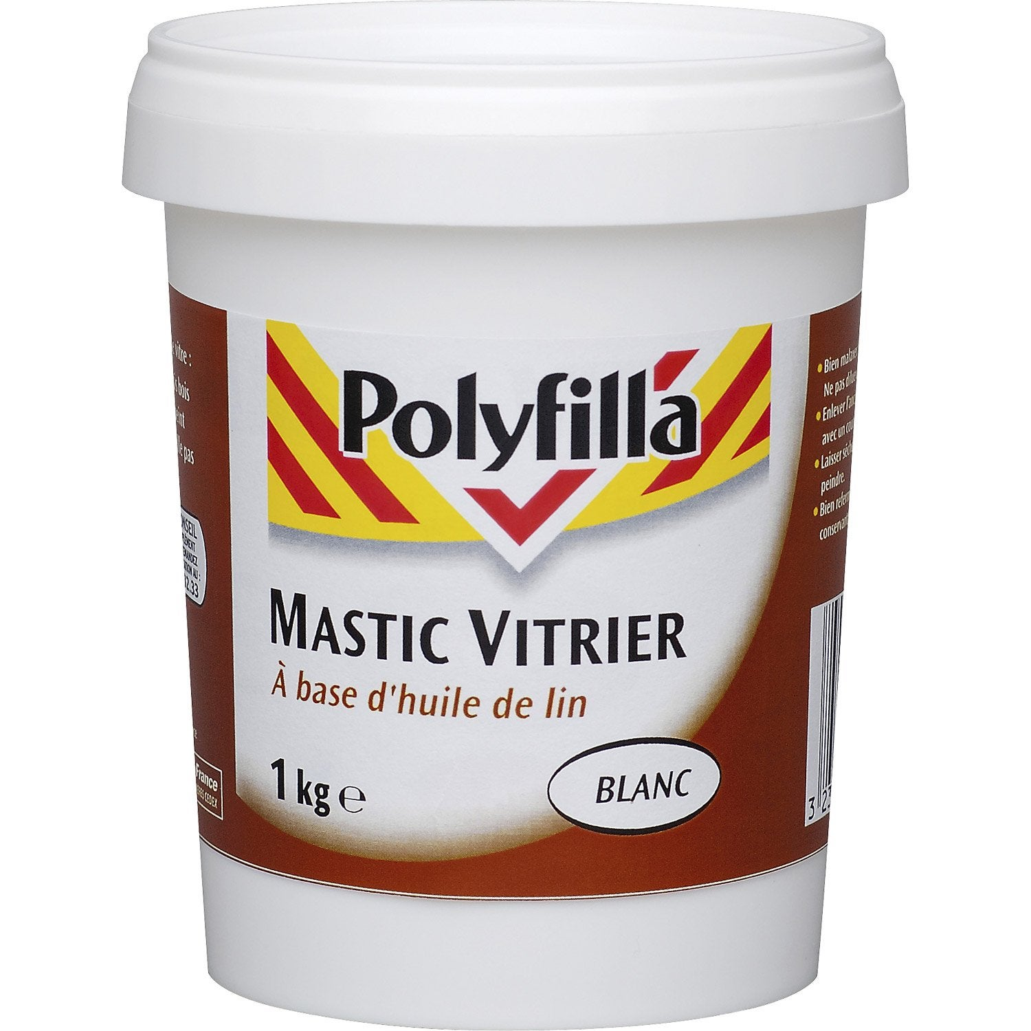 mastic d 39 tanch it polyfilla vitrier 1000 kg blanc mat. Black Bedroom Furniture Sets. Home Design Ideas