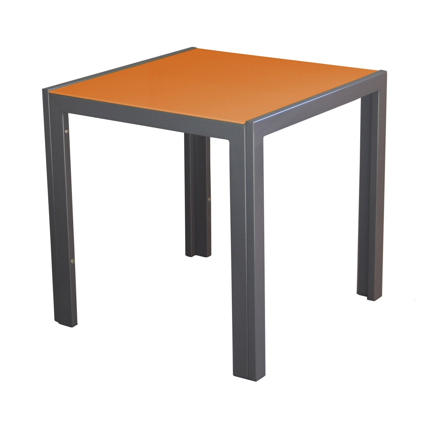 Table basse carr e grey orange 2 personnes leroy merlin for Table basse orange