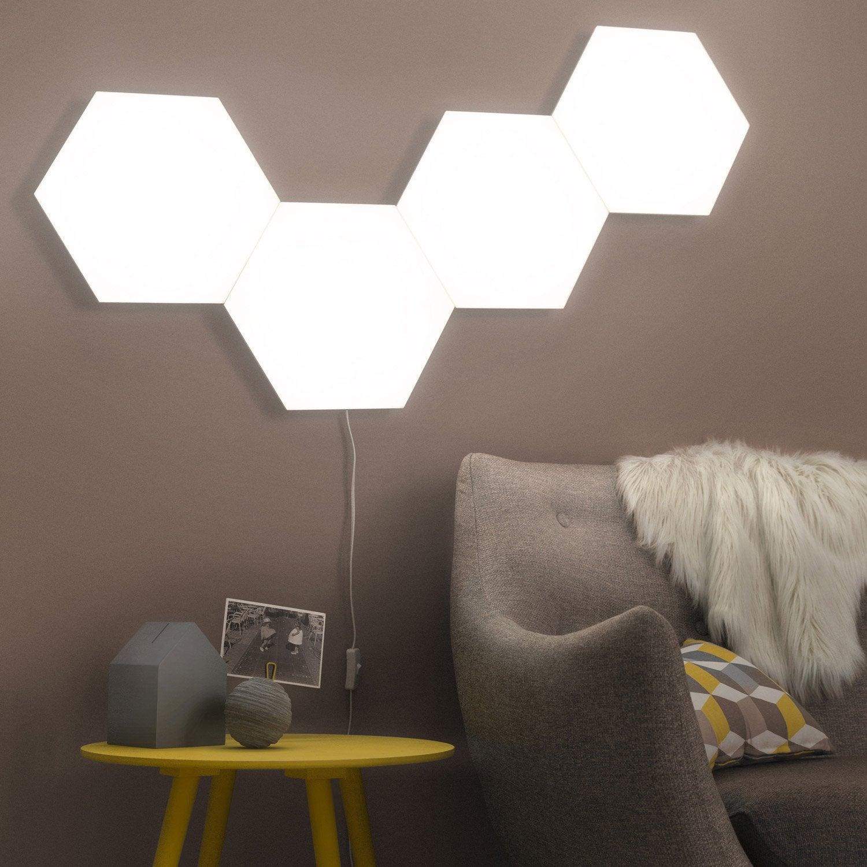 Super Panneau LED, design led intégrée Puzzle plastique Blanc, 1 INSPIRE  FA93