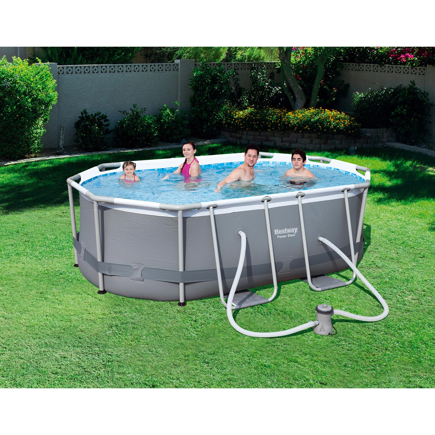 Piscine hors sol autoportante tubulaire bestway l 3 x l 2 for Piscine tubulaire rectangulaire