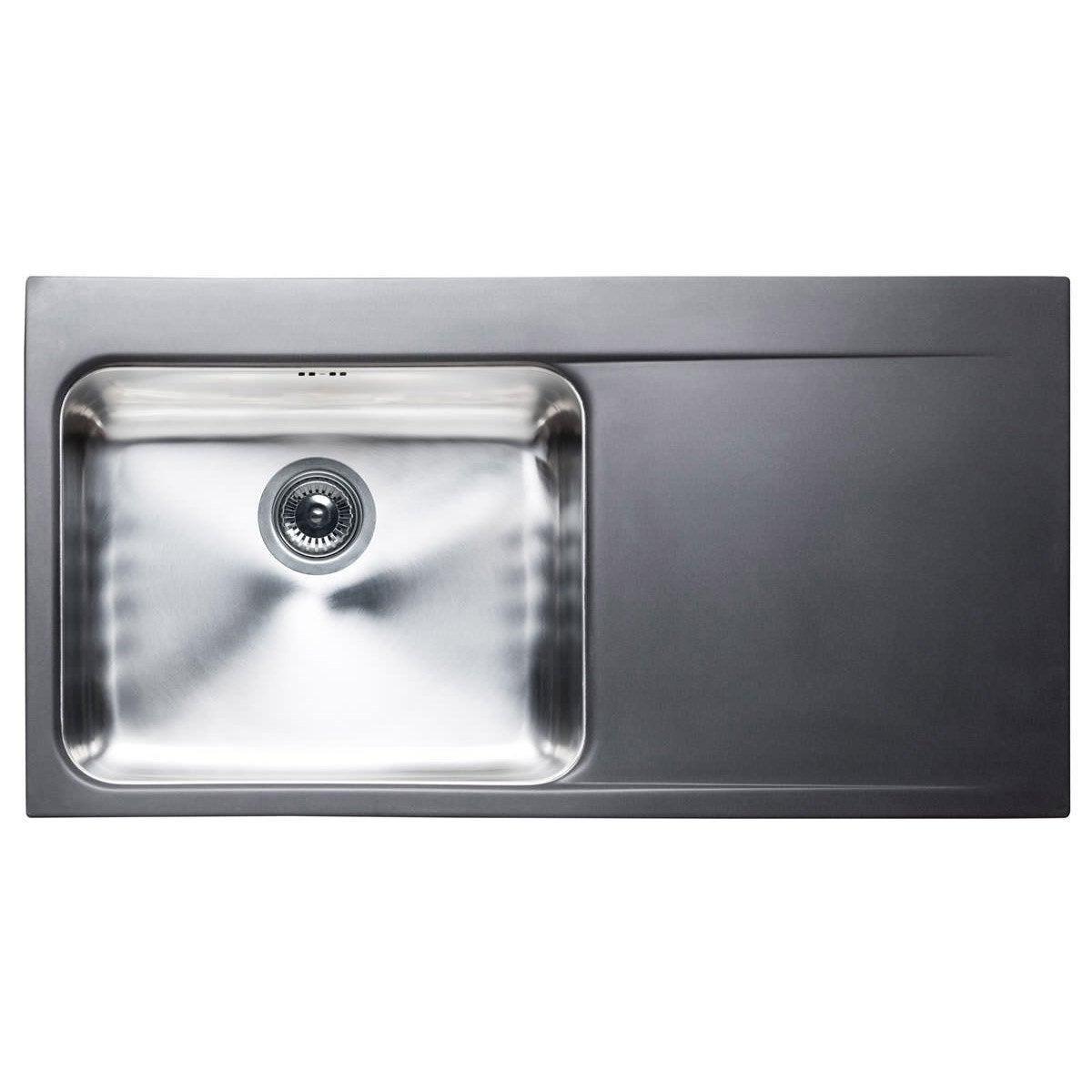 Evier encastrer inox noir arezzo 1 grand bac avec for Grand evier inox