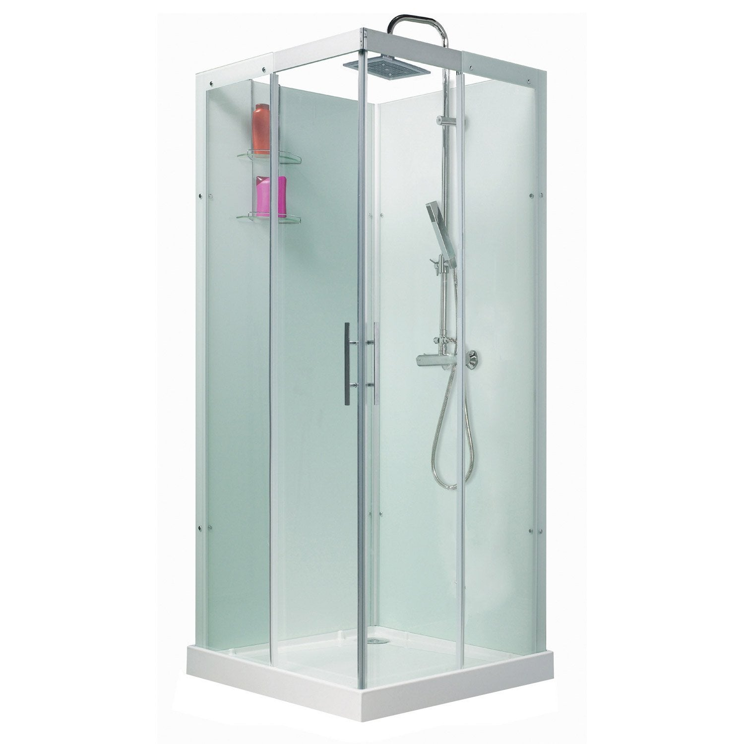 Cabine de douche thalaglass 2 simple thermostatique carr 80x80 cm leroy me - Cabine de douche simple ...