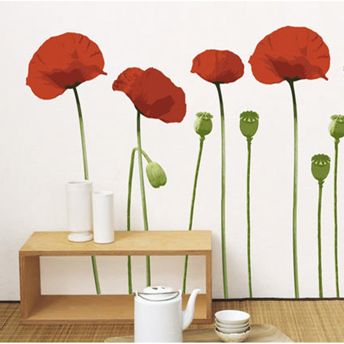 Sticker coquelicot 49 x 69 cm leroy merlin - Sticker mural leroy merlin ...