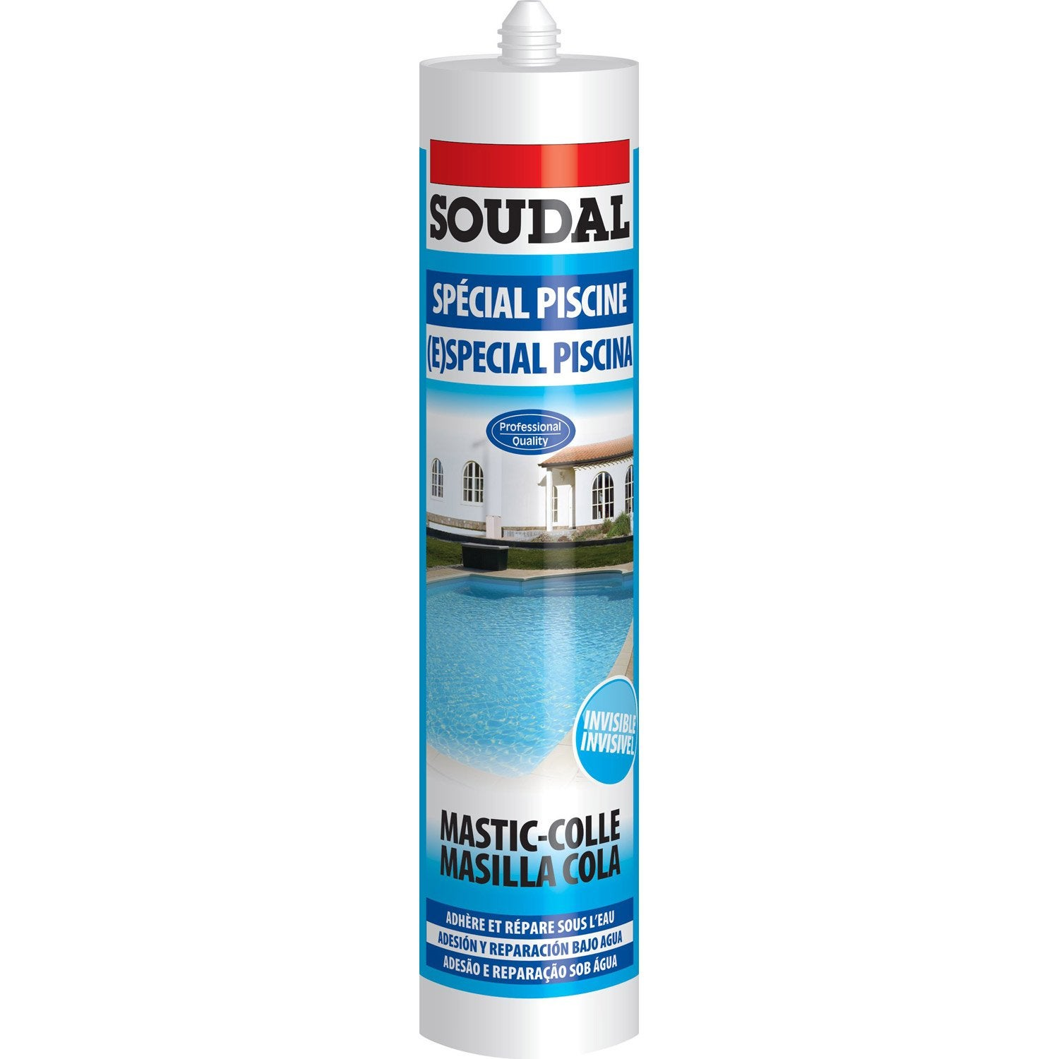 Mastic colle piscine soudal transparent 310ml leroy merlin for Ciment colle pour carrelage piscine