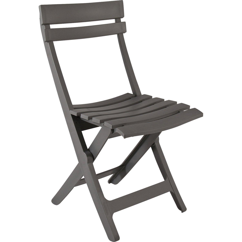 Chaise de jardin en r sine miami gris leroy merlin for Brumisateur jardin leroy merlin