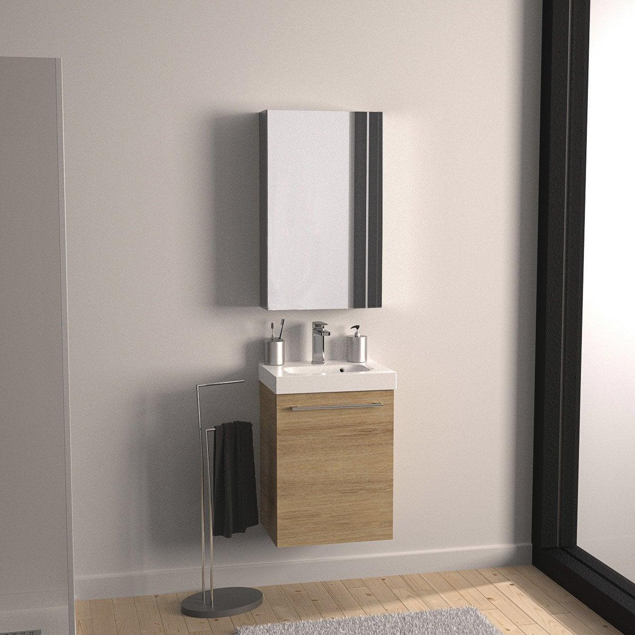 Meuble de salle de bains remix imitation ch ne 46x35 5 cm 1 porte leroy me - Meuble de toilette leroy merlin ...