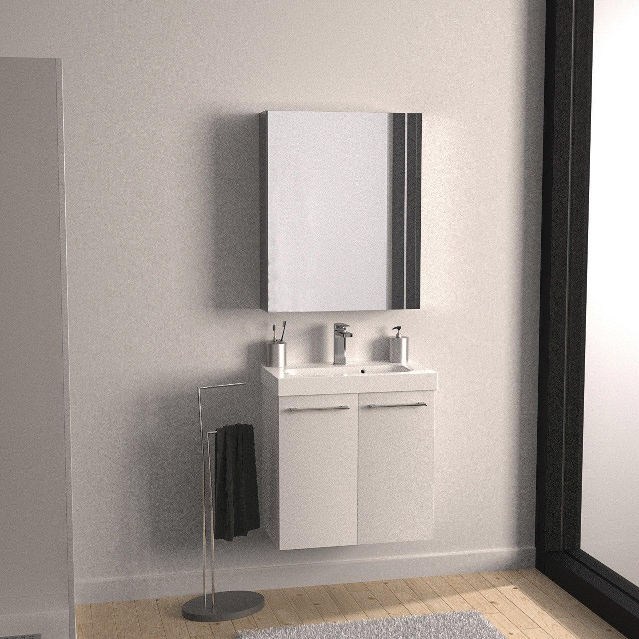 meuble de salle de bains remix blanc blanc n 0 2 portes leroy merlin. Black Bedroom Furniture Sets. Home Design Ideas