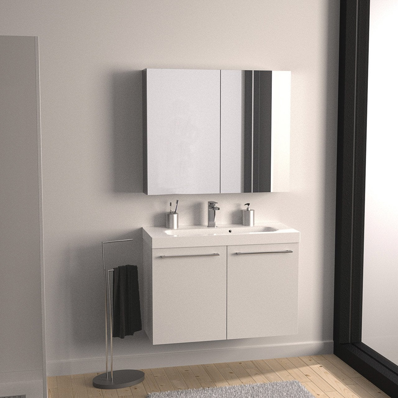 meuble de salle de bains remix blanc blanc n 0 61x35 5 cm. Black Bedroom Furniture Sets. Home Design Ideas
