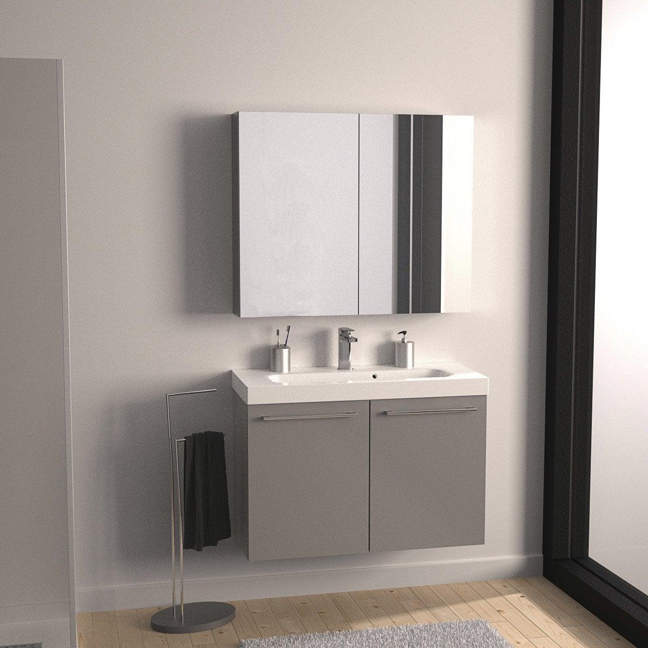 Meuble de salle de bains remix gris galet n 3 61x35 5 cm for Meuble salle de bain gris leroy merlin