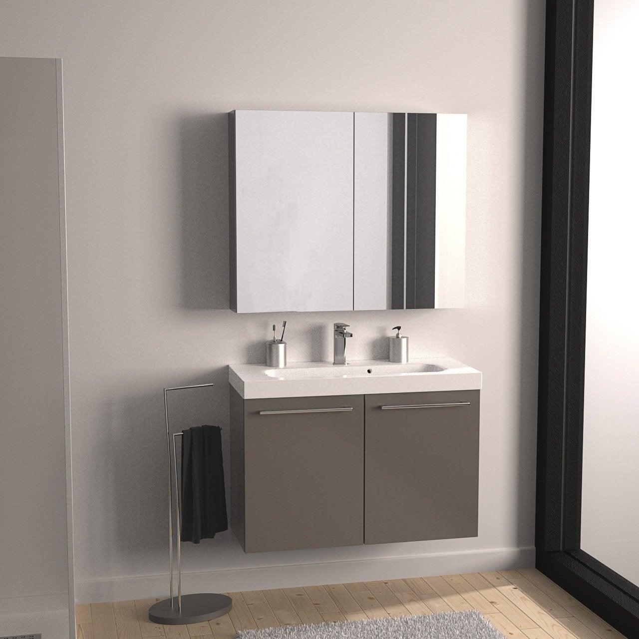 Meuble de salle de bains remix brun taupe n 3 61x35 5 cm for Meuble de salle de bain 2 portes