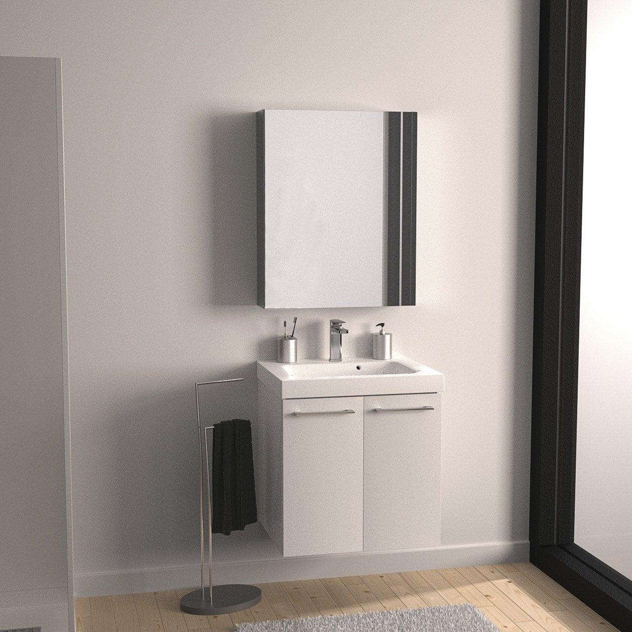 meuble vasque 61 cm d cor imitation ch ne clair remix leroy merlin. Black Bedroom Furniture Sets. Home Design Ideas
