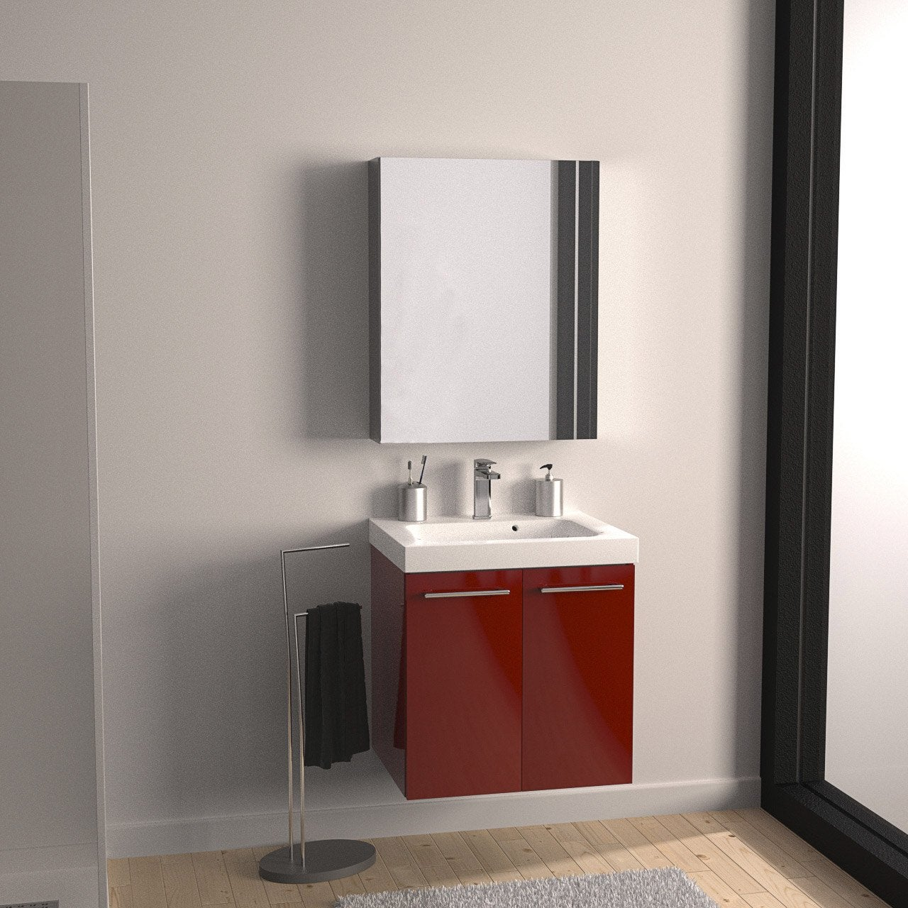 Meuble vasque x x cm rouge sensea remix for Salle de bain 3m2 leroy merlin