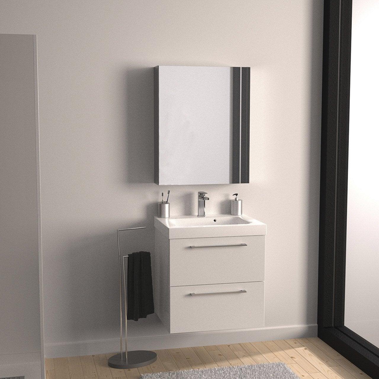 Meuble de salle de bains remix blanc blanc n 0 61x48 5 cm for Meuble salle de bain aubergine leroy merlin