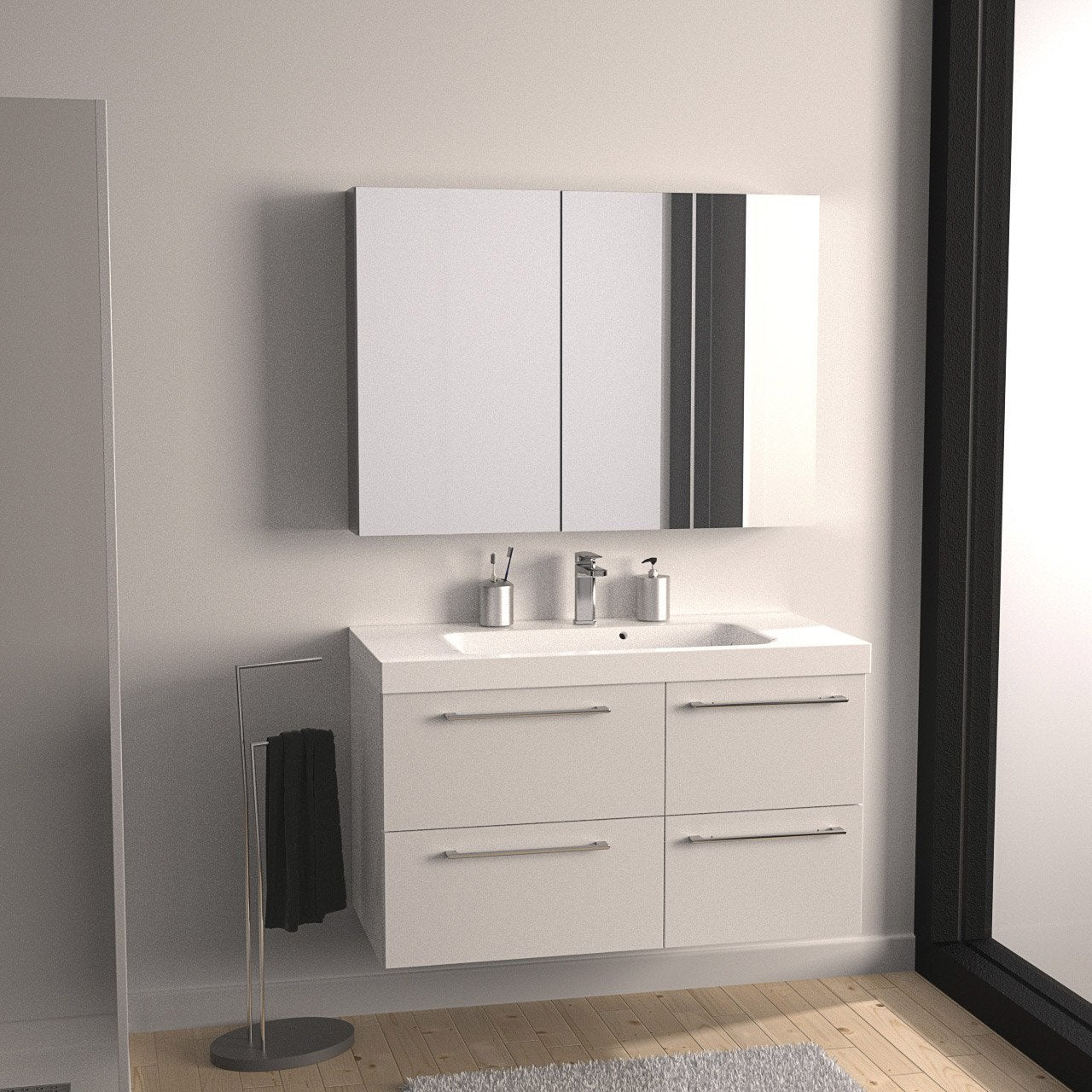 Meuble vasque x x cm blanc sensea for Meuble vasque leroy merlin