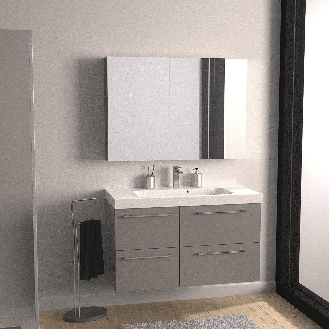 Meuble de salle de bains remix gris galet n 3 106x48 5 cm for Meuble salle de bains leroy merlin