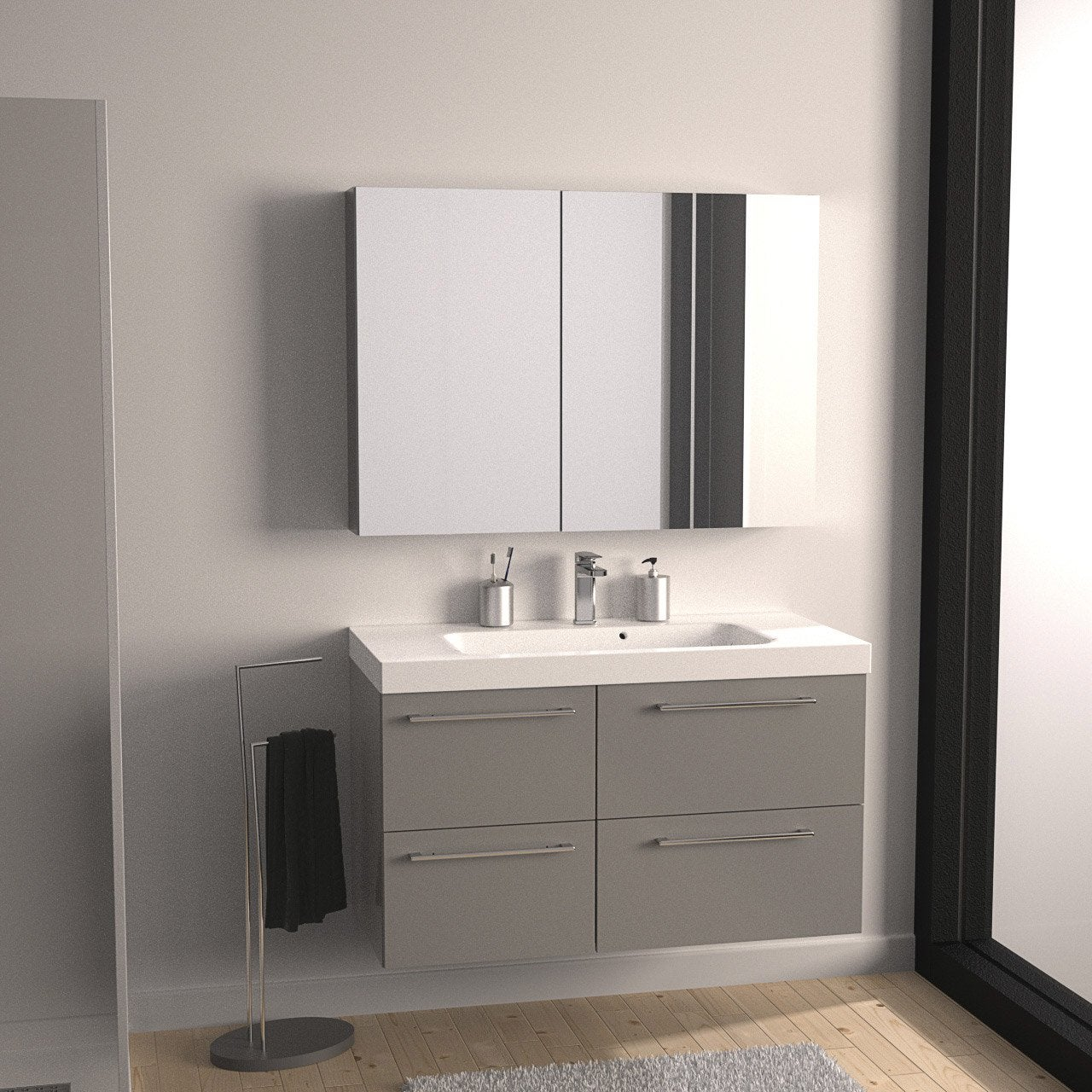 meuble de salle de bains remix gris galet n 3 4 tiroirs leroy merlin. Black Bedroom Furniture Sets. Home Design Ideas