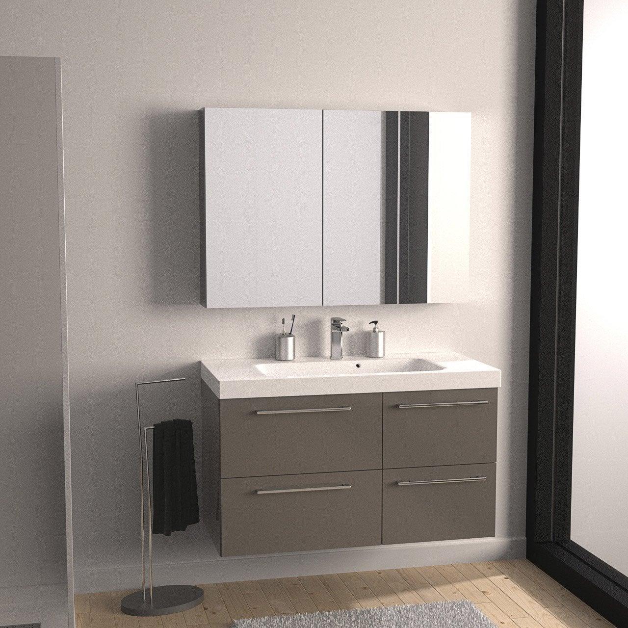 Meuble de salle de bains remix brun taupe n 3 106x48 5 cm for Meuble de salle de bain design leroy merlin