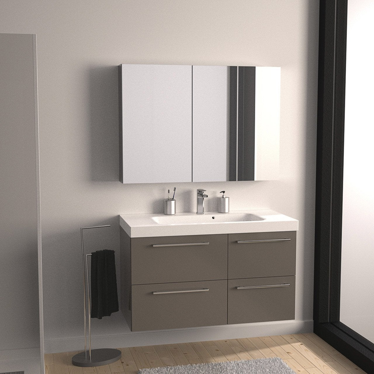 Meuble de salle de bains remix brun taupe n 3 106x48 5 cm for Leroy merlin meuble salle de bain bois