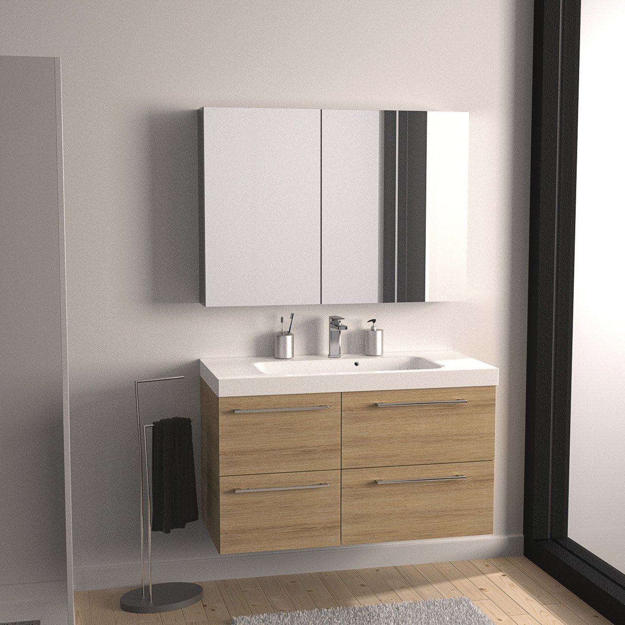 meuble de salle de bains remix imitation ch ne 106x48 5 cm 4 tiroirs leroy merlin. Black Bedroom Furniture Sets. Home Design Ideas