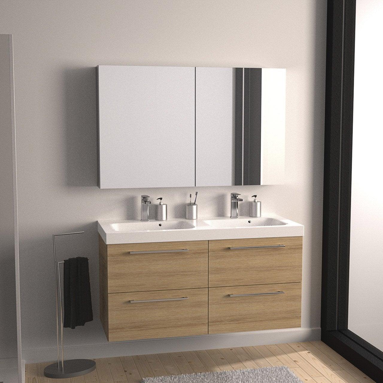 Meuble de salle de bains remix imitation ch ne 121x48 5 for Meuble bas de salle de bain leroy merlin