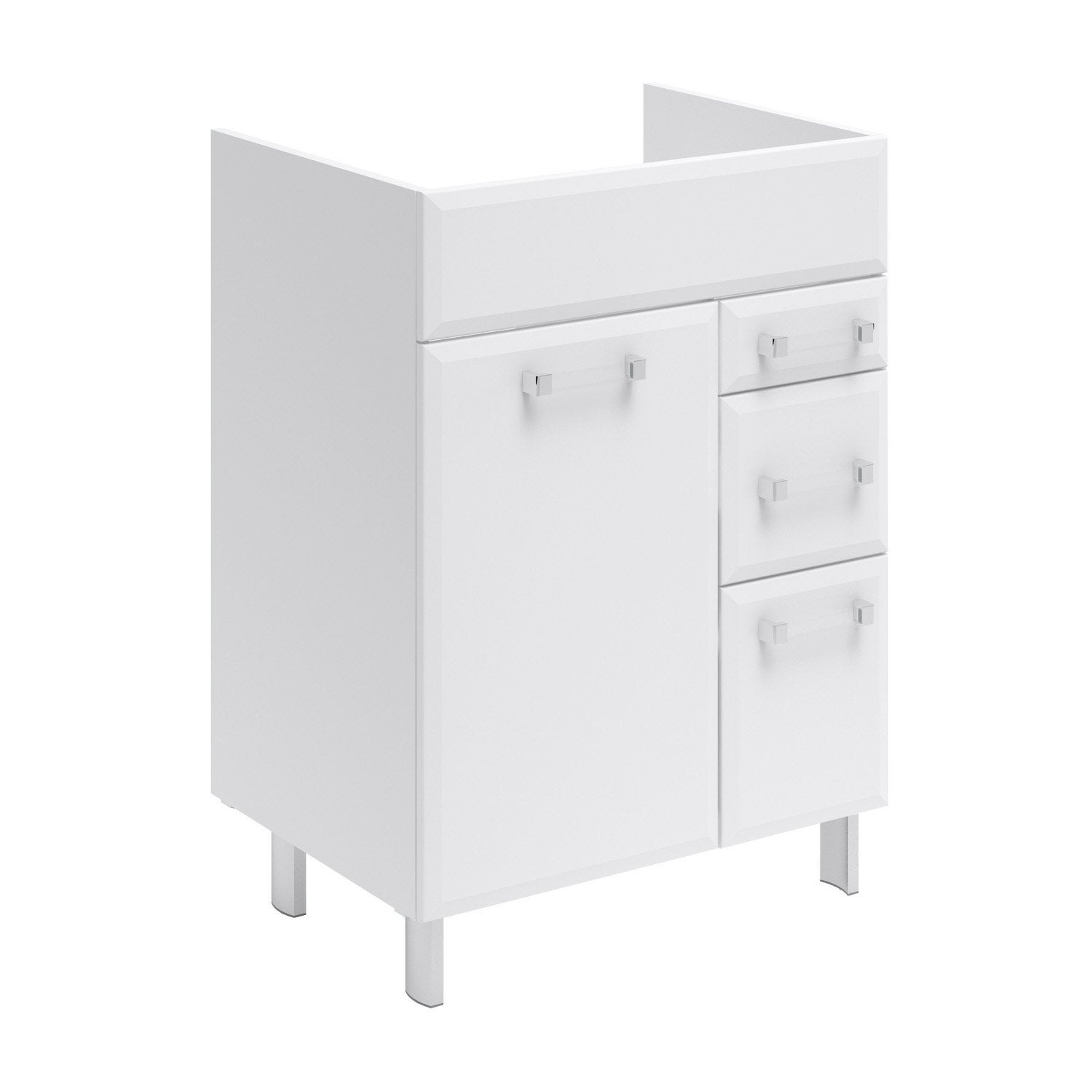 Meuble sous vasque opale blanc l60xh84xp45 2 cm 1 porte for Meuble vasque 70 cm leroy merlin