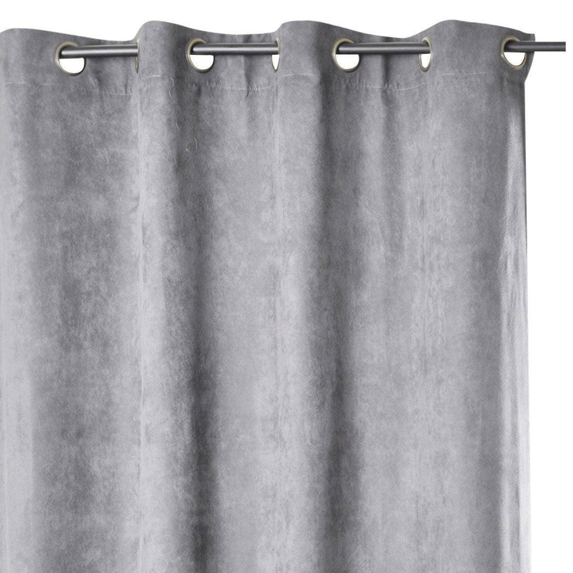 rideau suedine occultante gris x cm leroy merlin. Black Bedroom Furniture Sets. Home Design Ideas