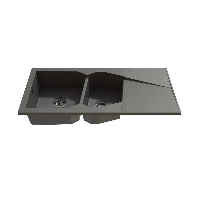 Leroy merlin evier granit maison design for Evier 2 bacs resine gris