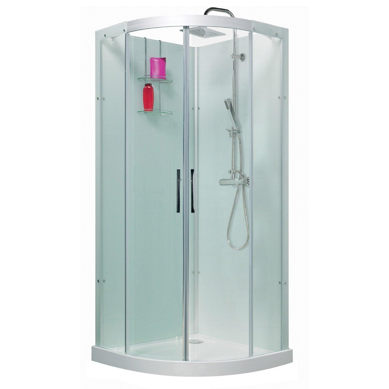 Cabine de douche 1 4 de cercle 90x90 cm thalaglass 2 - Mini cabine de douche ...