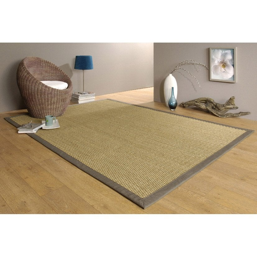 tapis jonc de mer 4x4 taupe 195x140 cm leroy merlin. Black Bedroom Furniture Sets. Home Design Ideas