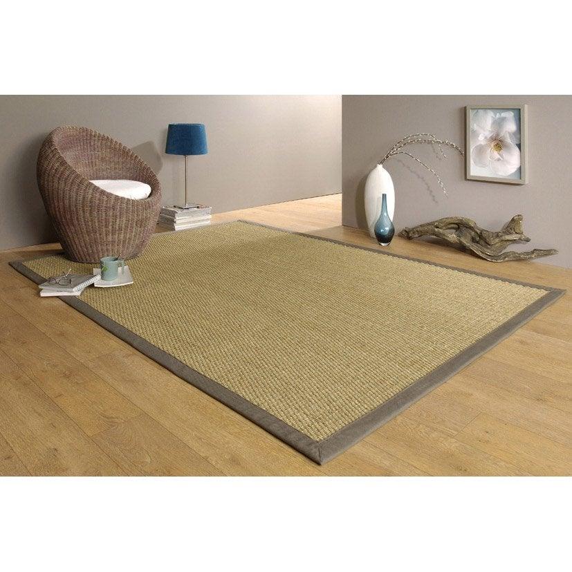 tapis taupe jonc de mer 44 l140 x l195 cm leroy merlin jonc de mer pour salle de bain - Jonc De Mer Pour Salle De Bain