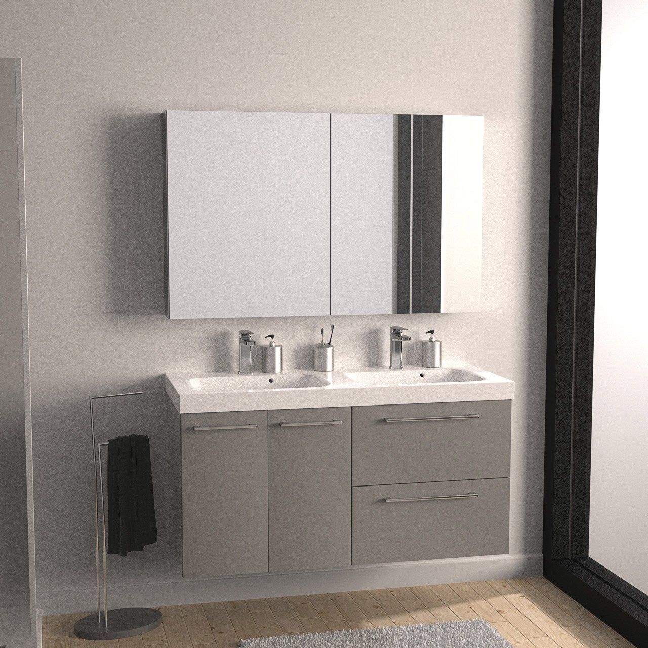 meuble de salle de bains remix gris galet n 3. Black Bedroom Furniture Sets. Home Design Ideas