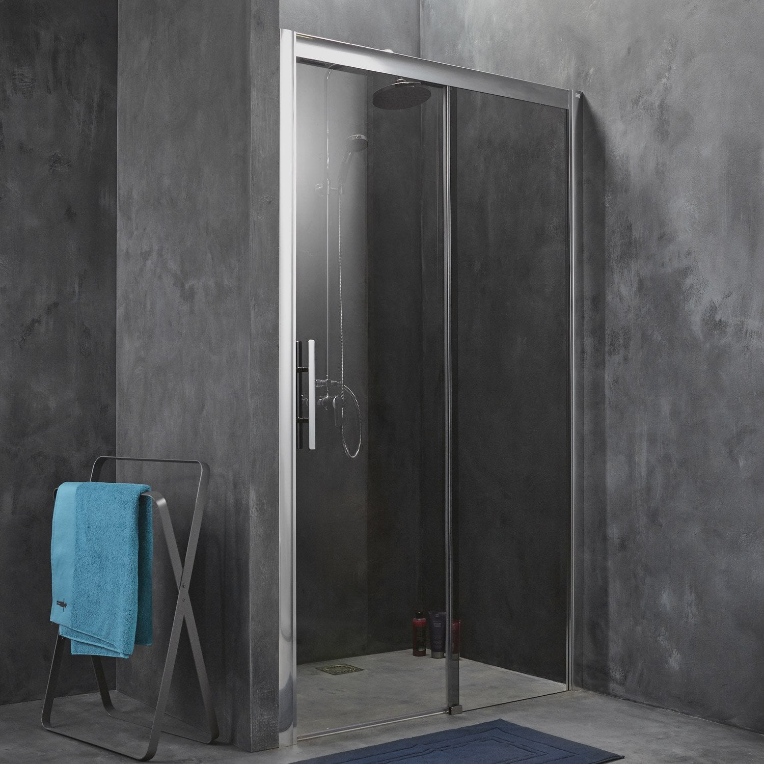 Porte de douche coulissante 147 151 cm profil chrom for Leroy merlin porte douche