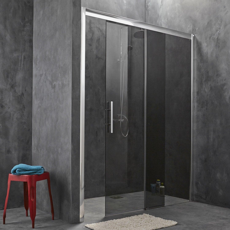 Porte de douche coulissante breuer adena verre de s curit fum leroy merlin - Porte de douche en verre coulissante ...